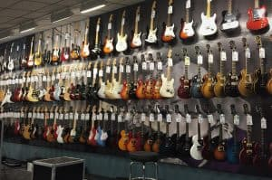 This photo shows you guitars on guitar store