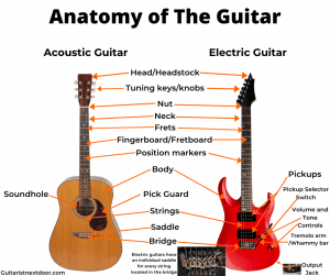 Photo shows readers the different parts of guitar