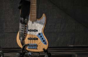 Photo shows readers a bass guitar