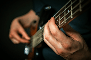 Photo shows readers a basic bass guitar