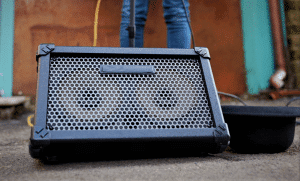 Photo shows readers a regular guitar amp which can be powered by batteries