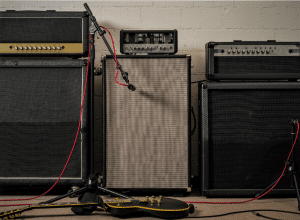 Photo shows readers different guitar amplifiers and cabinets