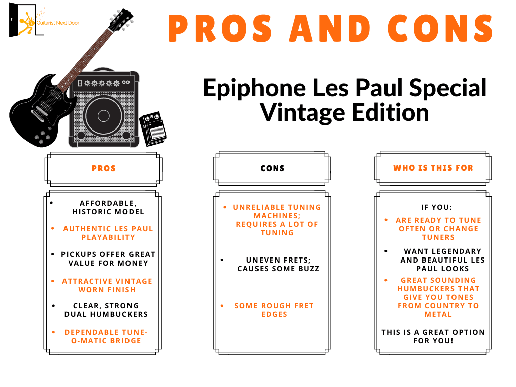 epiphone les paul special vintage edition pros and cons displayed for readers