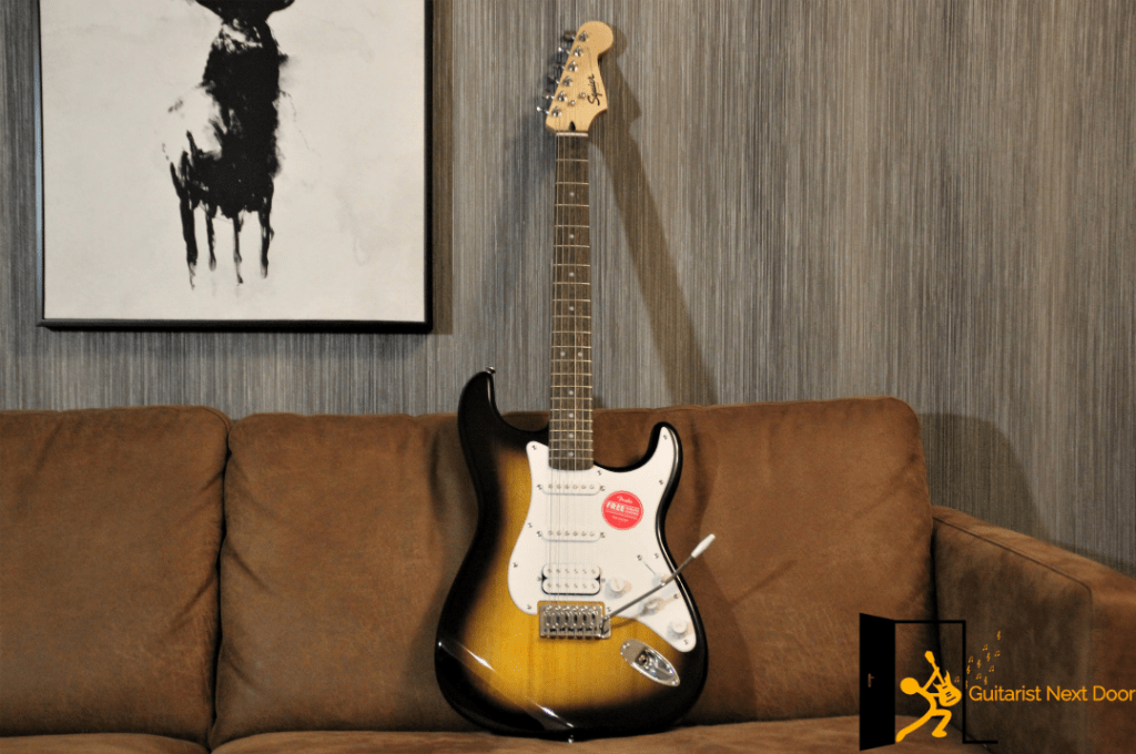 Squier Bullet Stratocaster displayed for readers