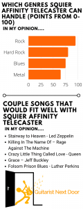 graph reveals that squier affinity telecaster can handle these genres and songs - electric guitars for short fat