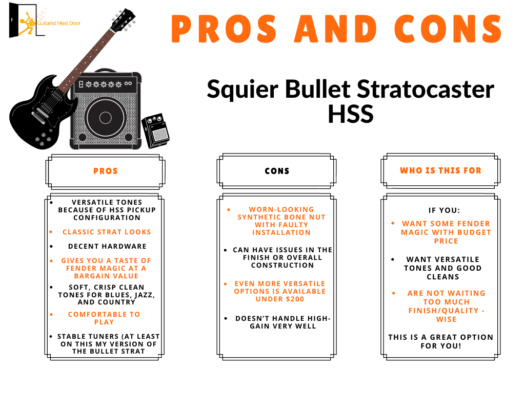 squier bullet stratocaster pros and cons displayed for readers