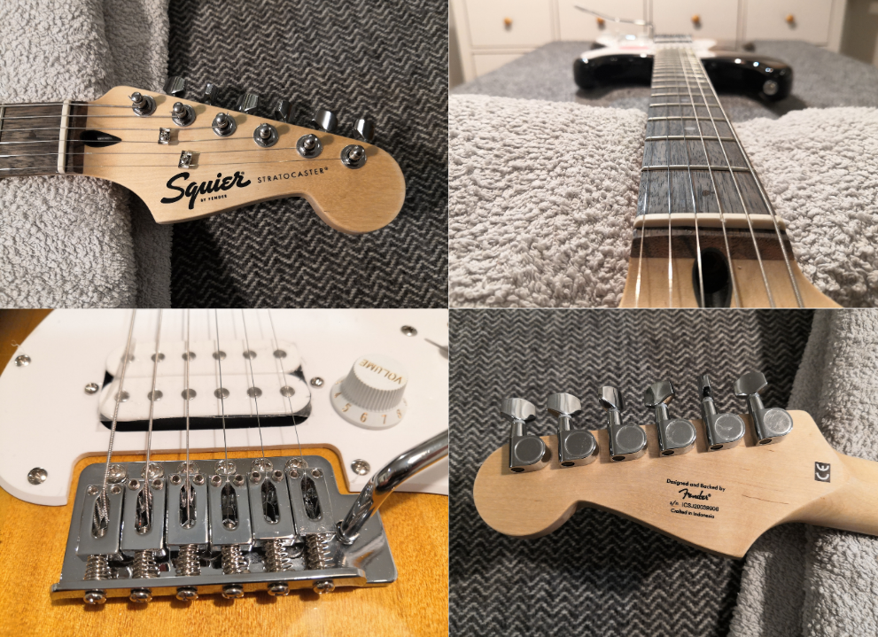 photo displays Squier Bullet Stratocaster HSS hardware quality