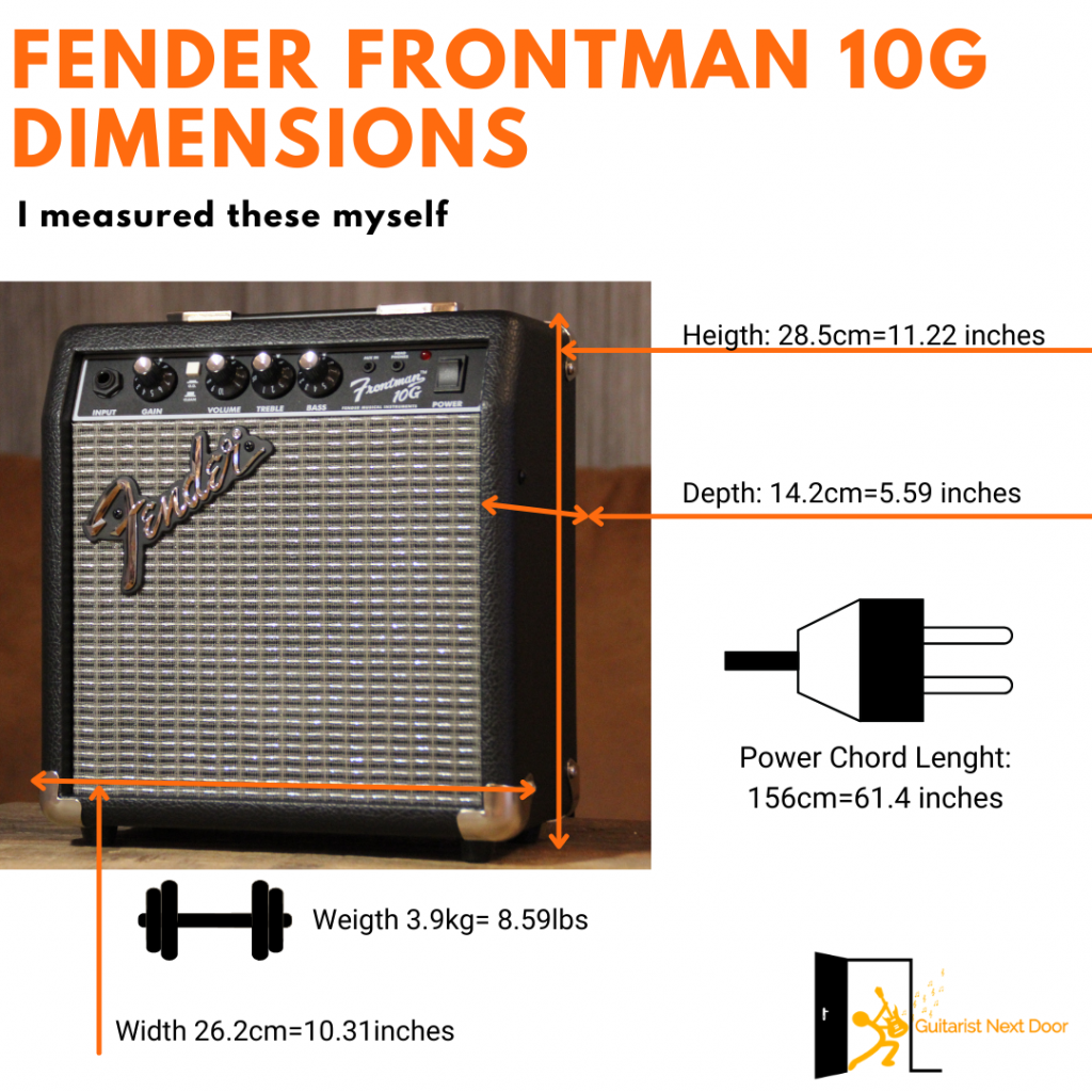 image reveals fender frontman 10g dimensions and weight