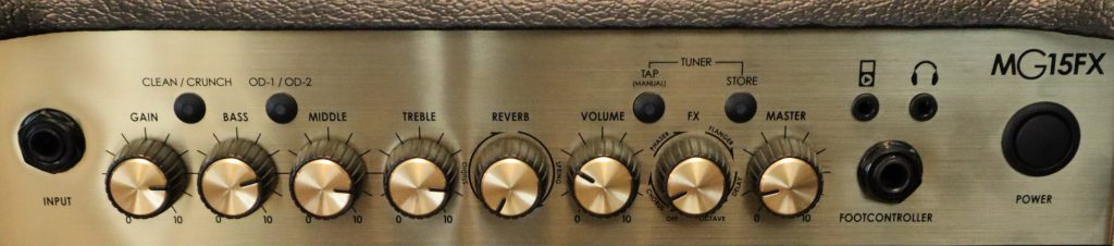 photo reveals Control panel and features of marshall mg15fx