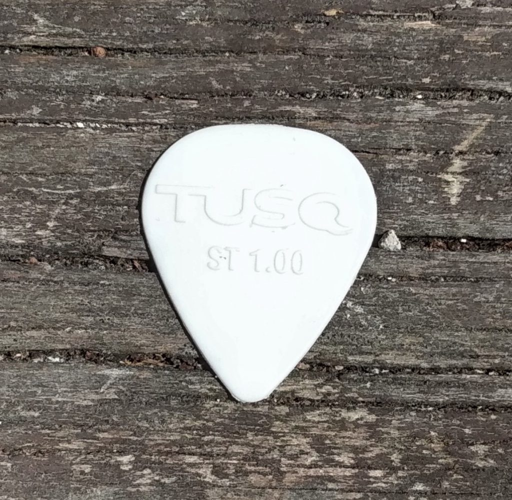 photo reveals Graphtech TUSQ Bright 1.00mm - best acoustic guitar pick for brighter tone
