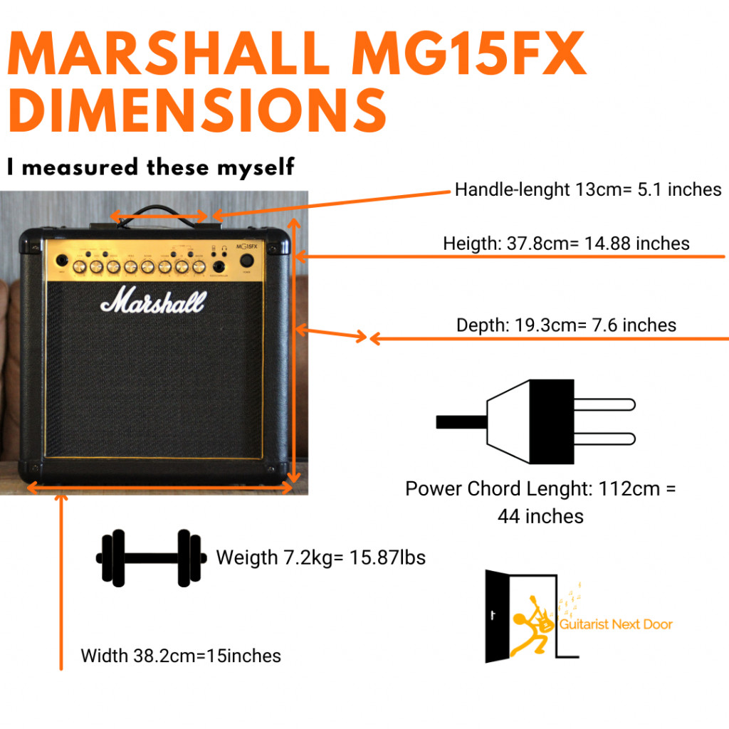 image reveals dimensions and weight of marhsall mg15gfx