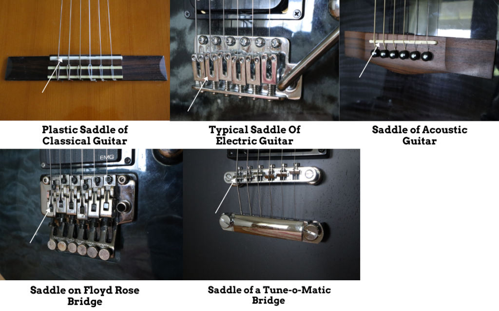 photo reveals different  types of guitar saddles