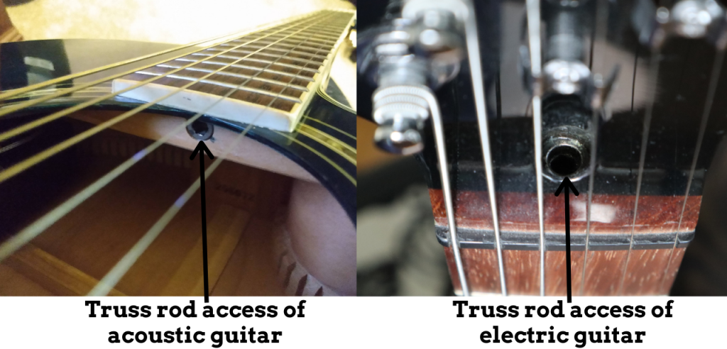 photo reveals truss rod access of acoustic and electric guitar