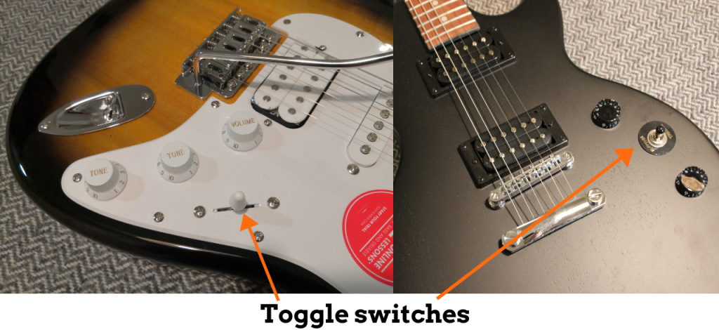 photo reveals what is a toggle switch on a guitar