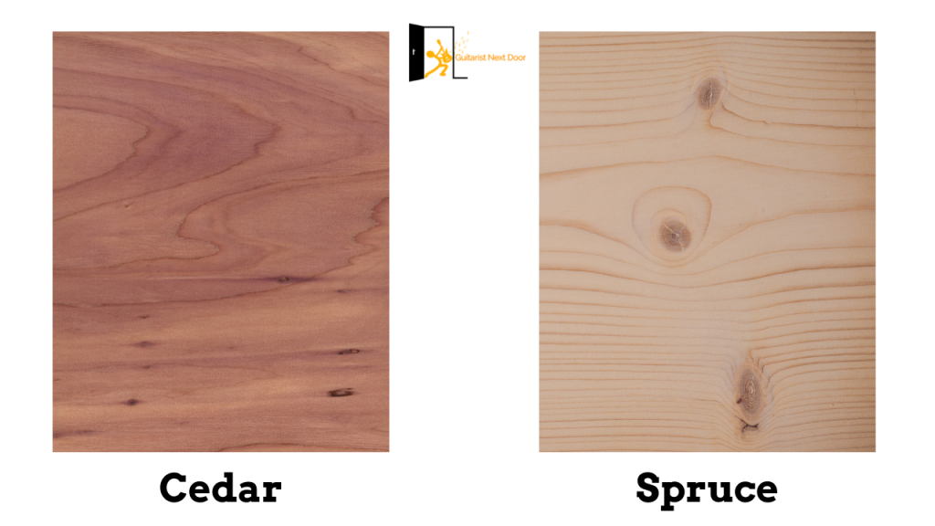 photo displays pictures of cedar and spruce wood