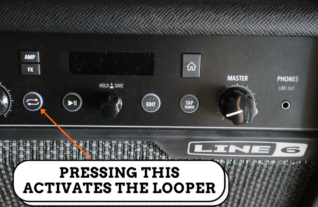 image shows how to activate looper of the line 6 spider V 60