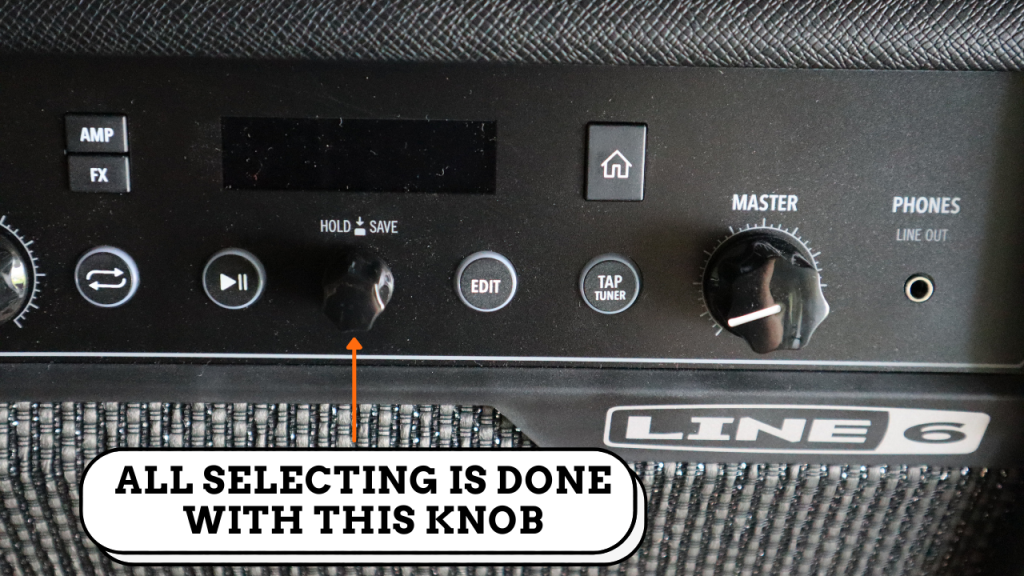 photo displays line 6 spider V 60 knob that is used to select presets