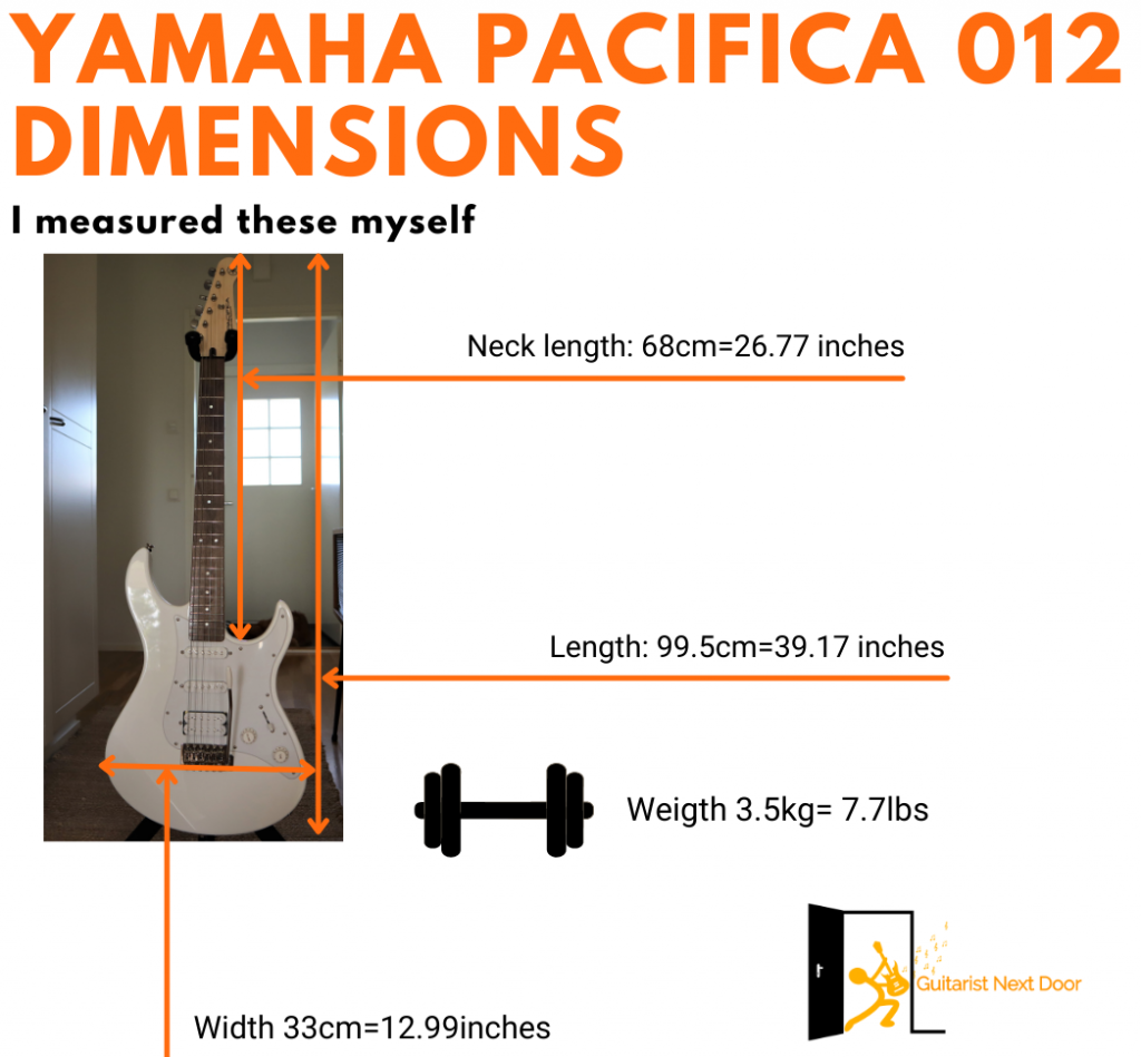 graph reveals Yamaha Pacifica 012 dimensions and weight